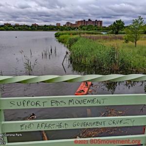 BDS Movement Meadow Lake Bridge Graffiti on Fence, Ducks in Background